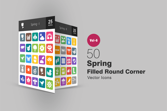 Thumbnail for 50 Spring Filled Round Corner Icons