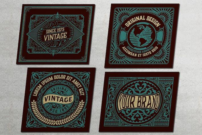 Set mit 4 Vintage-Etiketten zum Verpacken