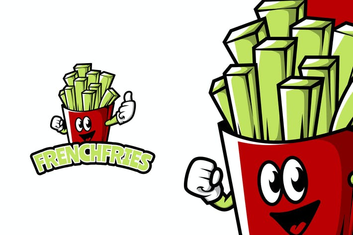 Thumbnail for French Fries - Food Mascot Logo Template