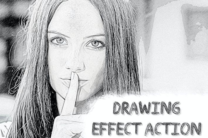 Действие Photoshop «Эффект рисования»