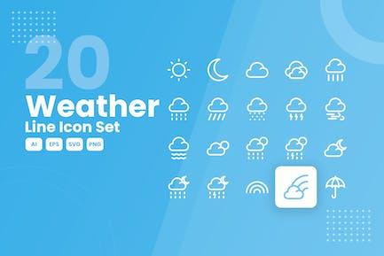 20 Wetterlinien-Icon-Set