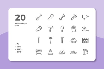 20 Construction Icons (Line)