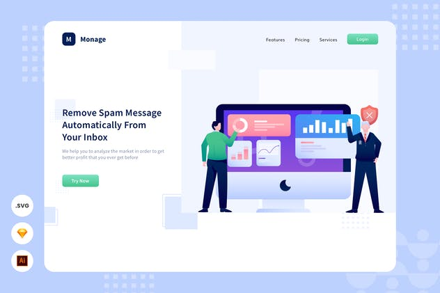 Spam Remover - Website Header - Illustration