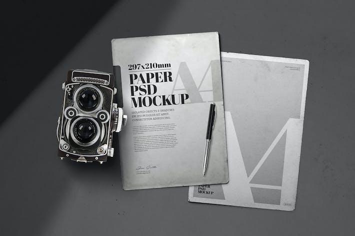 Thumbnail for Vintage Paper Mockup A4 alte Kamera