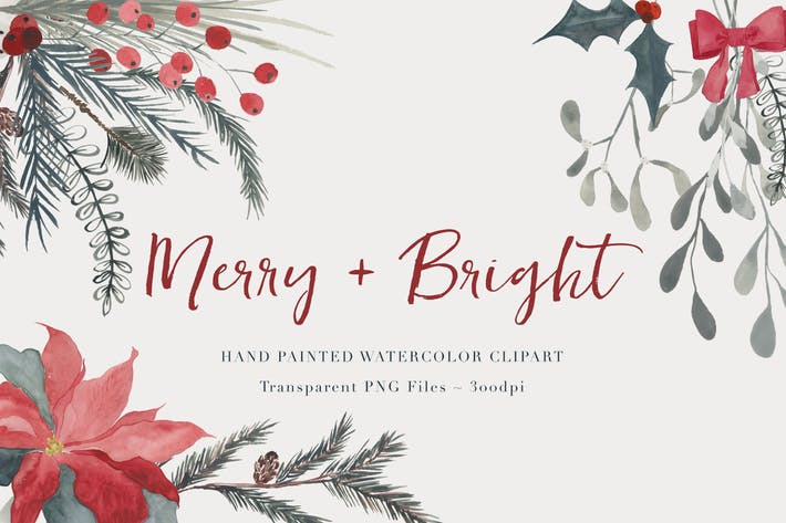 Cover Image For Christmas Watercolor Clipart