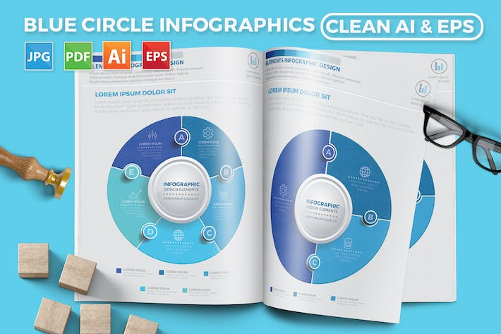 Thumbnail for Blue Circle Infographic Design