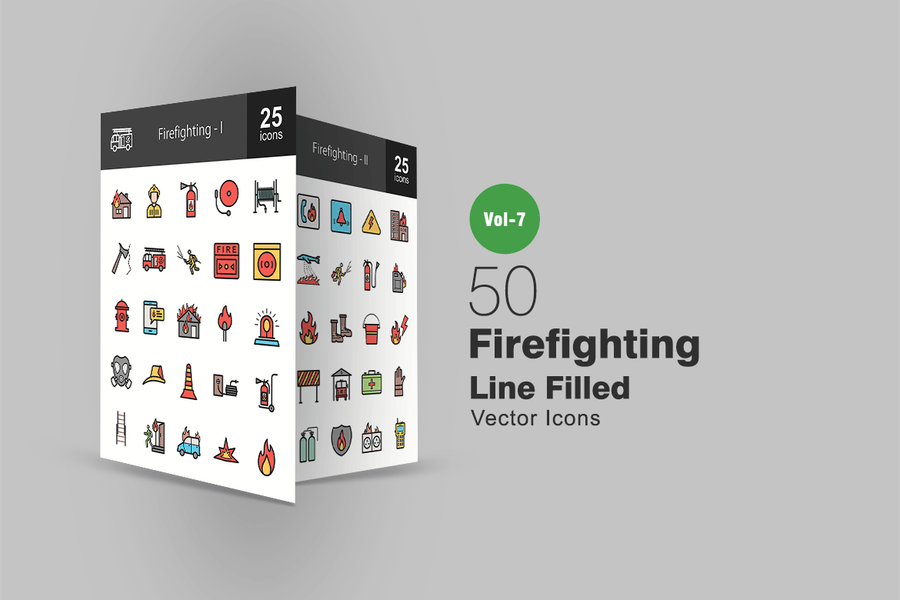 50 Firefighting Filled Line Icons