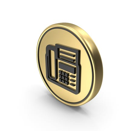 Fax Machine Coin Logo Icon