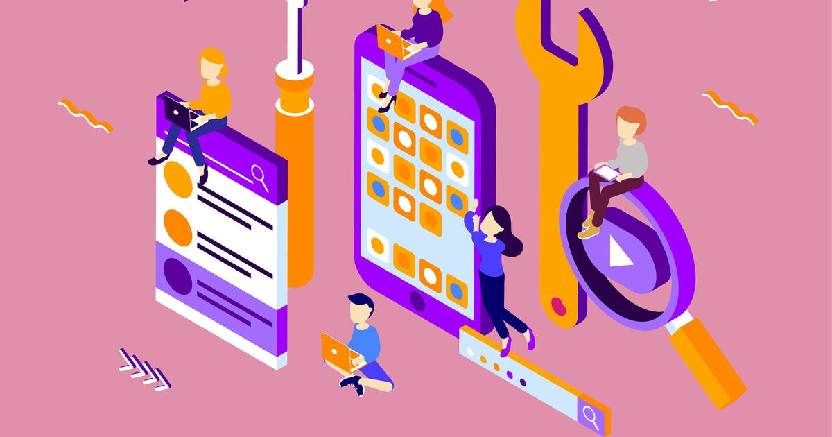 Download Apps Development Isometric Illustration by angelbi88