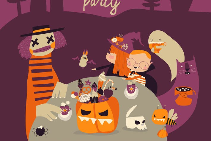 Thumbnail for Cartoon crazy Halloween party with kids and monste