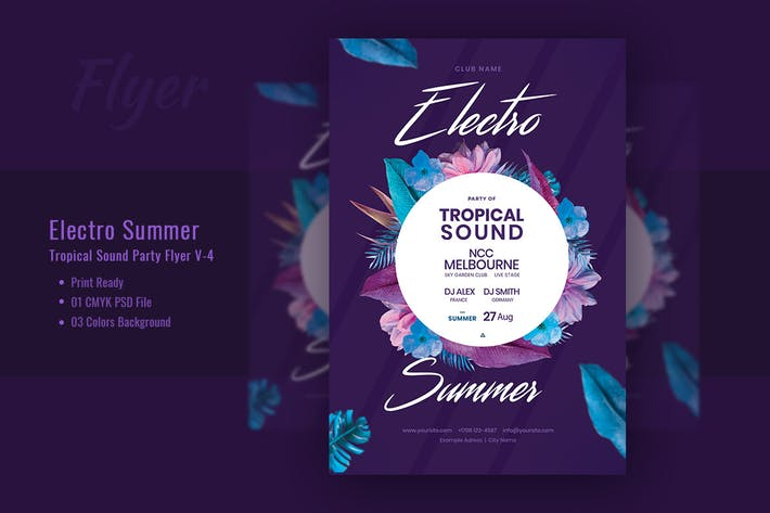 Thumbnail for Electro Summer & Tropical Sound Flyer Template V-4