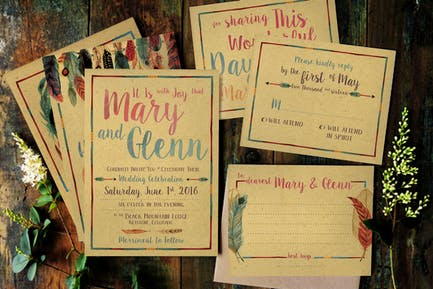 Feather Watercolor Wedding Invitation
