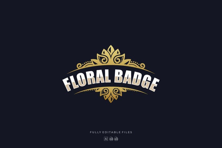 Thumbnail for Floral Luxury Badge Logo