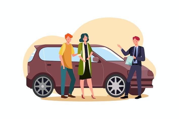 Thumbnail for Concesionario de automóviles explicando el contrato de venta a la pareja