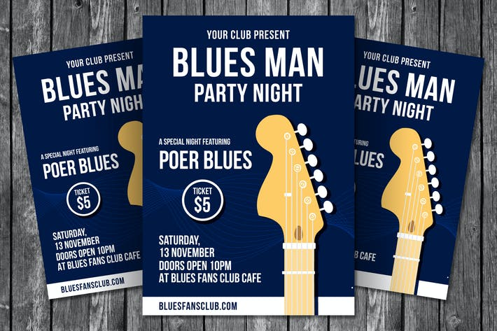 Thumbnail for Blues Man Party Night Flyer Template