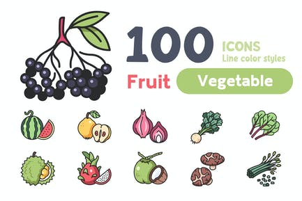 Element 100 Fruit and Vegetable Line color icons