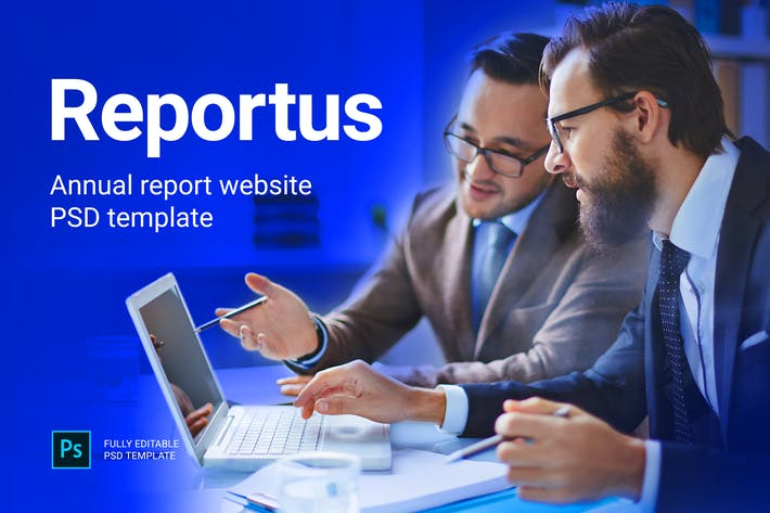 Thumbnail for Reportus - Annual Report Website PSD Template