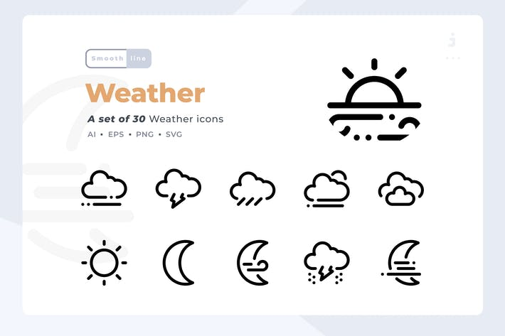 Thumbnail for Smoothline - 30 Weather icon set