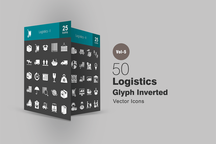 50 Logistics Glyph Inverted Icons