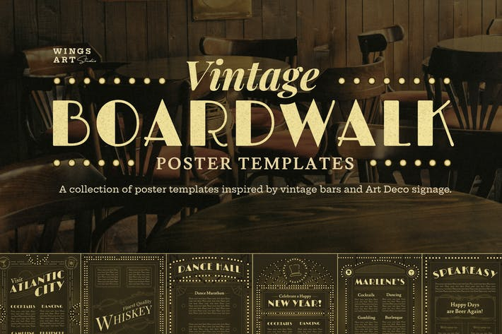 Thumbnail for Vintage Art Deco Boardwalk Poster Templates