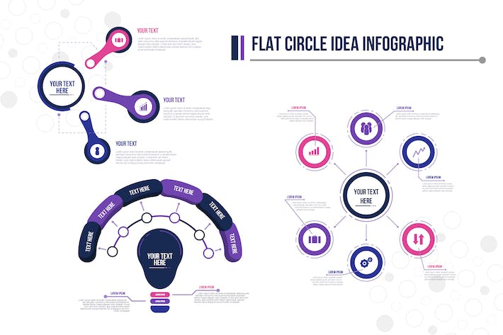 Thumbnail for Flat Circle Idea Infographic