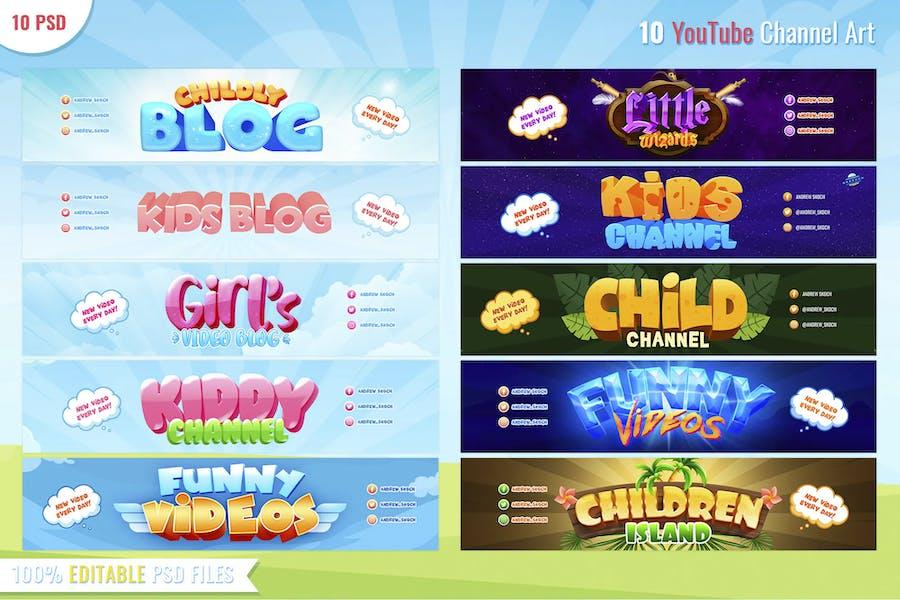 Canal infantil - 10 banners de Youtube