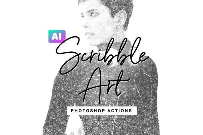 Thumbnail for AI Scribble Art Photoshop Действия
