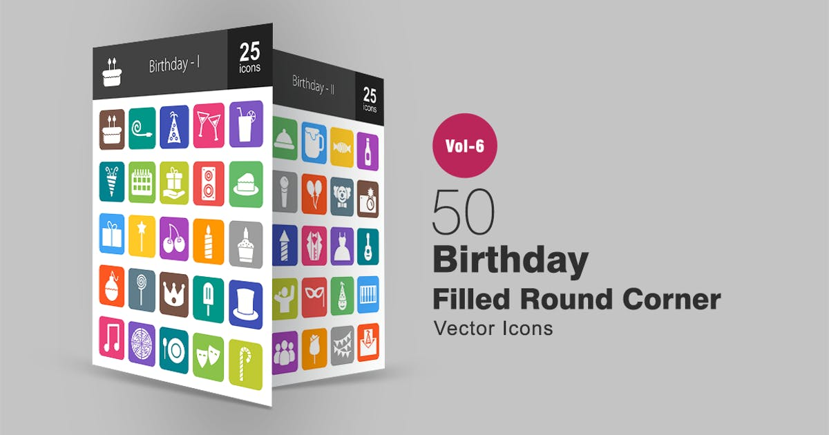 Download 50 Birthday Filled Round Corner Icons by IconBunny