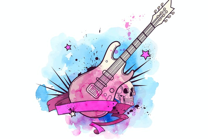 Thumbnail for Watercolor Background with Electric Guitar