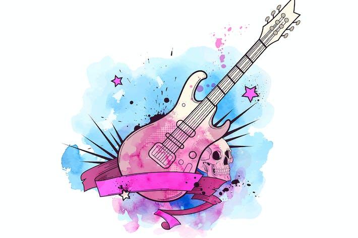 Thumbnail for Aquarell Hintergrund mit E-Gitarre