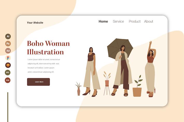 Thumbnail for Boho Woman Vol 8  - Landing Page Template