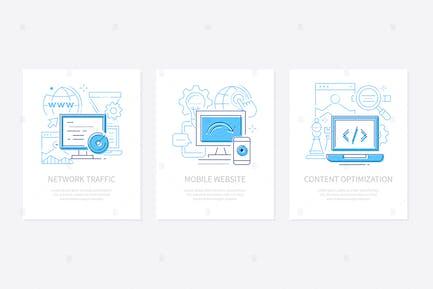 Desarrollo web - conjunto de banners de estilo de diseño de línea
