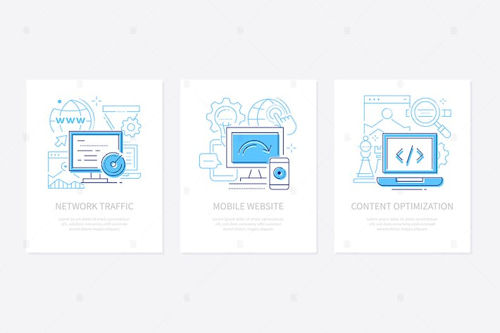 Thumbnail for Web development - line design style banners set