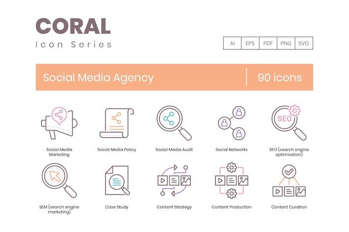 Thumbnail for 90 Иконки линии Агентство социальных сетей