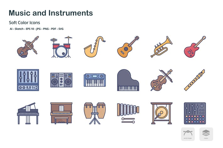 Thumbnail for Музыка и инструменты мягкие цветные Иконки