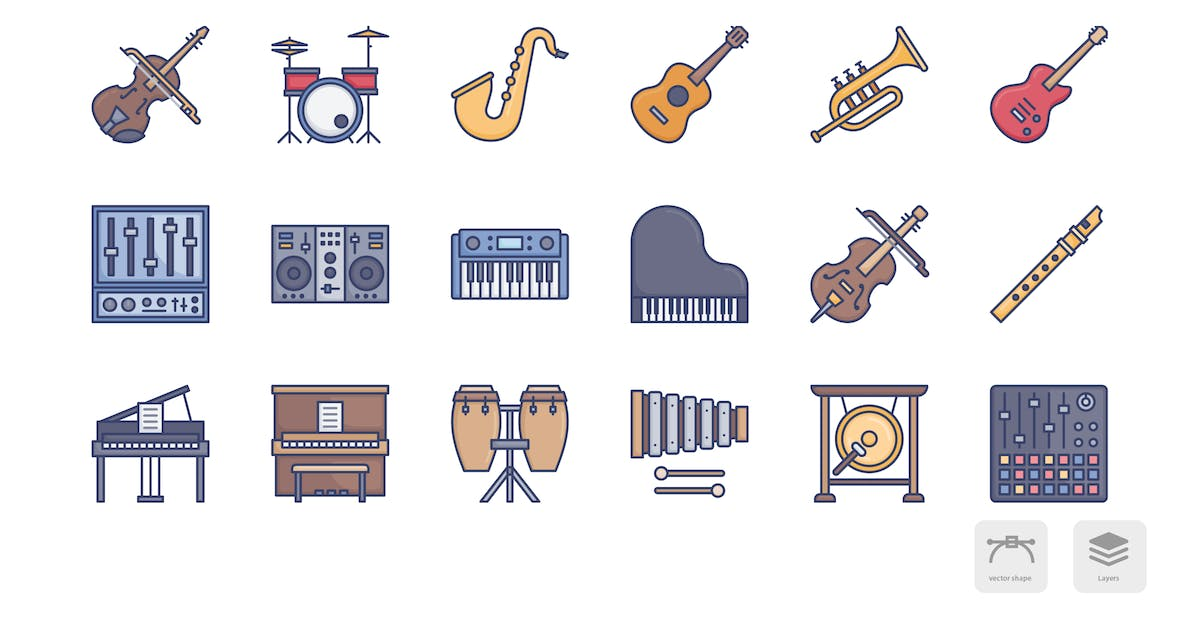 Download Music and instruments soft color icons by roundicons