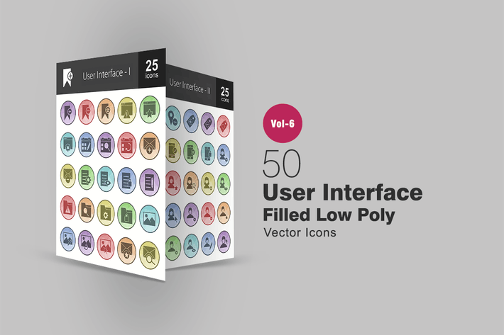 Thumbnail for 50 User Interface Filled Low Poly Icons