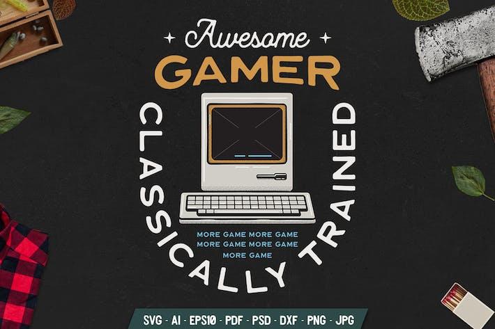 Gaming-Abzeichen mit dem alten PC. Weinlese-Emblem