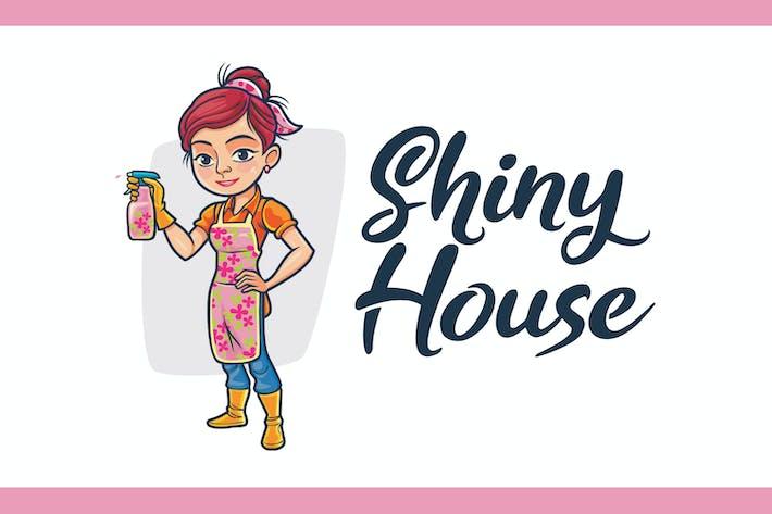 Thumbnail for Logo mascotte nettoyant maison de bande dessinée