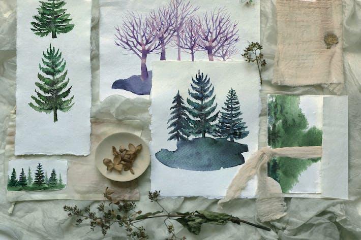 Thumbnail for Watercolor pine trees set