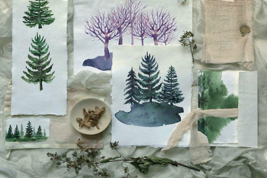 Watercolor pine trees set