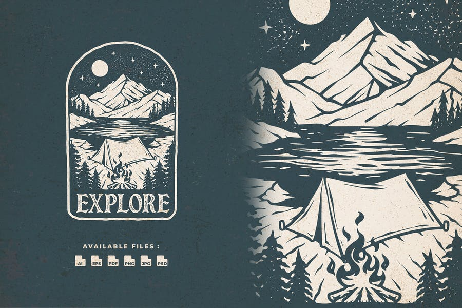 Explore Outdoor Hand Drawn Logo