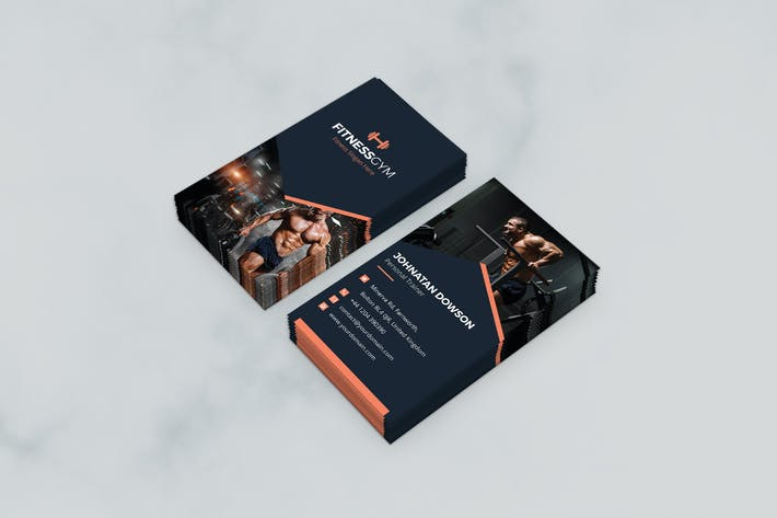 Download 6054 fitness business card templates envato elements thumbnail for business card gym fitness and health vertical fbccfo Images