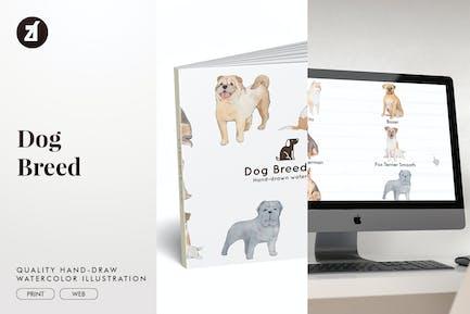 Ilustración de la raza de perro dibujada a mano.