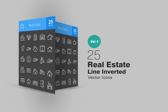 Thumbnail for 25 Real Estate Line Inverted Icons