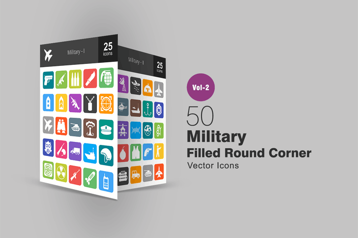 Thumbnail for 50 Military Filled Round Corner Icons