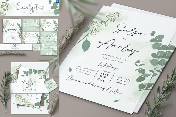 Thumbnail for Eucalyptus Wedding Invitation Set