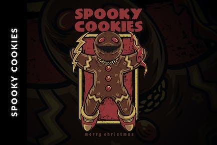 Spooky Cookies Christmas Illustration