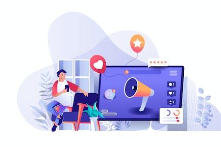 Ilustración web plana de marketing en redes sociales