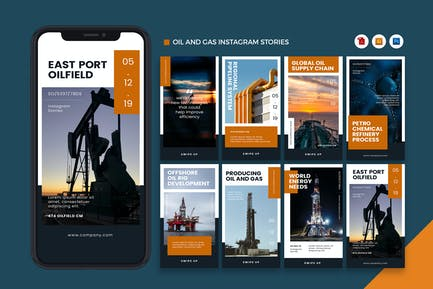 Oil and Gas Industry Instagram Stories AI and PSD